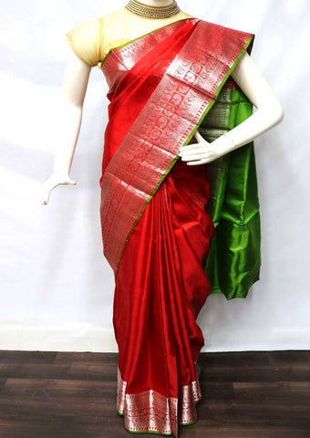 Red with Green Soft Silk Saree - FU45257 ARRS Silks