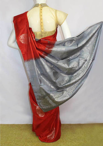Red with Light Grey Soft Silk Saree - FL87432 ARRS Silks