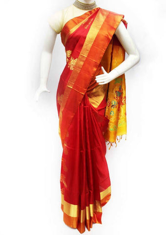 Red with Mango Yellow Soft Silk Saree - FQ111492 ARRS Silks