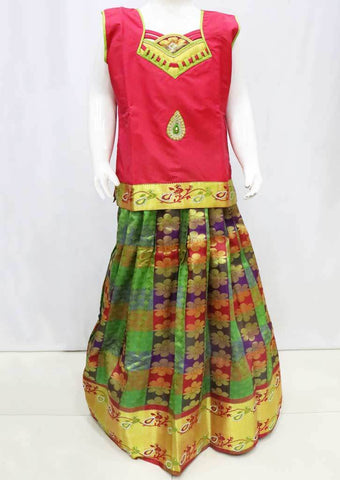 Red with Multi color  Pattu Pavadai - FU3325  (Size : 10 Years ) ARRS Silks
