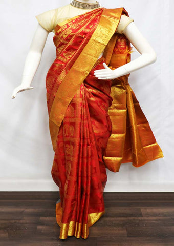 Red With Orange Wedding Silk Saree - FA8318 ARRS Silks