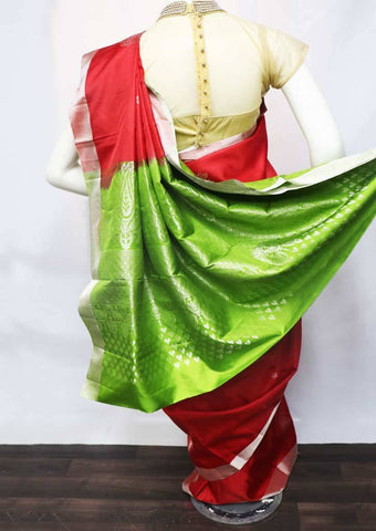 Red with Parrot Green Soft Silk Saree - FU45303 ARRS Silks