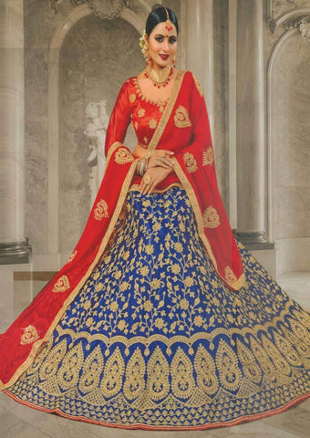 Red with Pepsi blue Lehenga - FS20678 ARRS Silks
