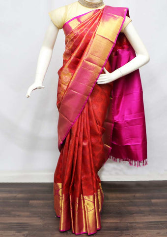 Red With Pink Pattu Saree - 9KA183 ARRS Silks