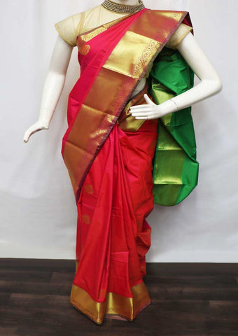 Red With Pink Shade And Green Semi Silk Saree  - GC65434 ARRS Silks