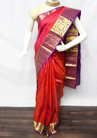 Red with Pink shade Kanchipuram Silk Saree -FQ111588 ARRS Silks