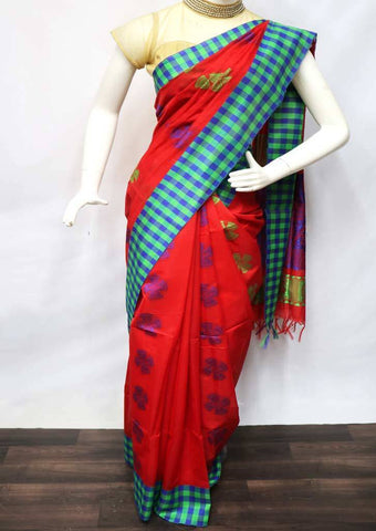 Red with Purple Pure Silk Cotton Saree - FU21436 ARRS Silks