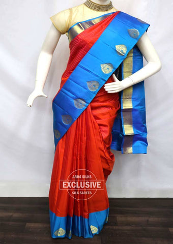 Red With Ramar Blue Kanchipuram Silk Saree - FV5240 ARRS Silks