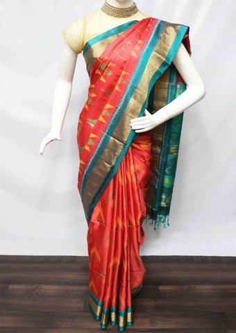 Red with Ramar Green  Pochampally Silk Saree - FQ110819 ARRS Silks