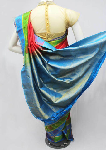 Red with Sky Blue Kanchipuram Silk Saree-FM92077 ARRS Silks