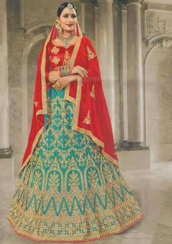 Red with Sky blue Lehenga - FS20675 ARRS Silks