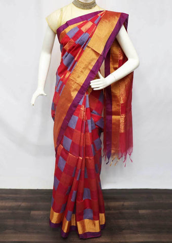 Red with Violet Checked Silk Cotton Saree - FU30408 ARRS Silks