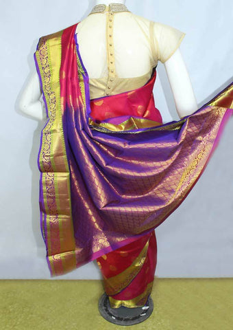 Red With Violet  Kanchipuram Silk Saree-FM89776 ARRS Silks