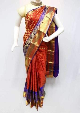 Red with Violet  Kanchipuram Silk Saree -FR81181 ARRS Silks