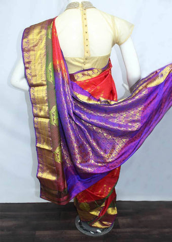 Red With Violet Semi Silk Saree- FH172 ARRS Silks