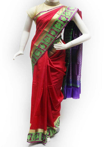 Red with Violet Semi Silk Saree- FS7586 ARRS Silks