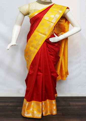 Red With Yellow semi silk saree  - GA54420 ARRS Silks