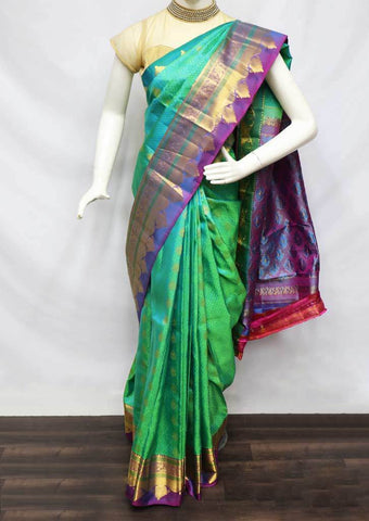Rexona Green With Violet Kanchipuram Silk Saree -FV6092 ARRS Silks