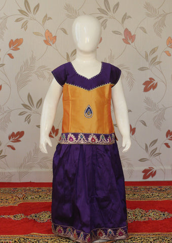 Violet with Orange Art Silk Pavadai