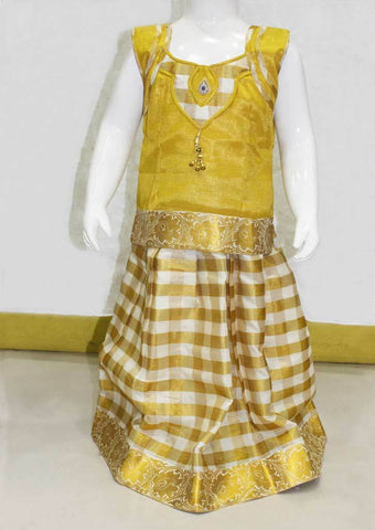 Sandal and Golden Yellow Checked Pattu Pavadai - FN7894 ARRS Silks