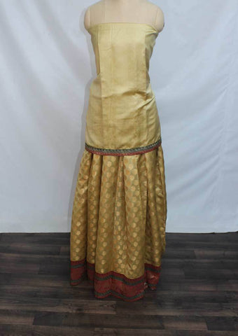 Sandal Coloured Pattu Pavadai Material - BZ21639 (Size:  13Yrs to 18Yrs) ARRS Silks