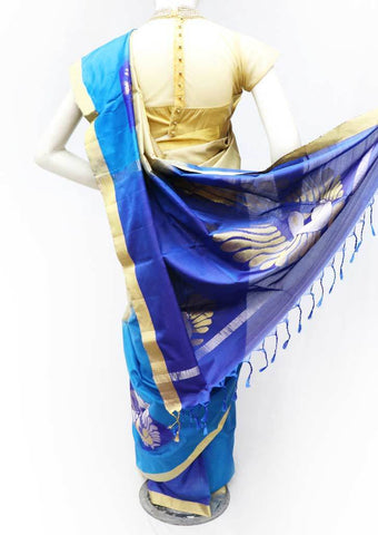 Sandal with Blue Soft Silk Saree - FP56276 ARRS Silks