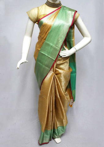 Sandal with Green Organza Cotton Sarees- FQ135803 ARRS Silks