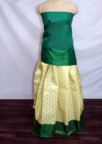 Sandal with Leaf Green Coloured Pattu Pavadai Material - FP4360 (Size:  13Yrs to 18Yrs) ARRS Silks