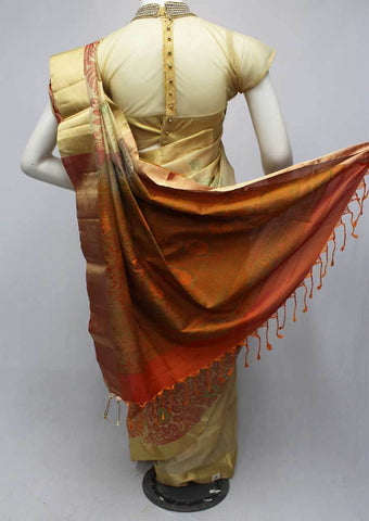 Sandal with Orange Soft Silk Saree -FQ110789 ARRS Silks