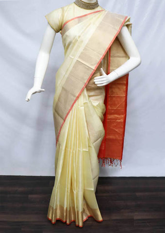 Sandal with Orange Soft Silk Saree - FU44259 ARRS Silks