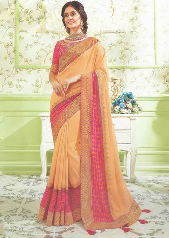 Sandal with Pink Designer Saree - FS31716 ARRS Silks