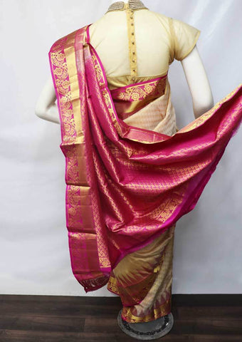 Sandal With Pink Kanchipuram Silk Saree -FV3417 ARRS Silks