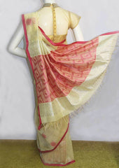 Sandal with Pink Silk Cotton Saree - FO2196 ARRS Silks