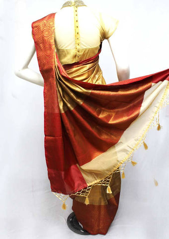 Sandal with Red Organza Cotton Sarees - FQ135789 ARRS Silks