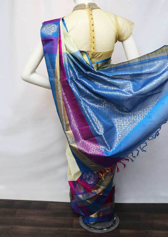 Sandal with Sky blue Pure Silk Cotton Saree - FL39155 ARRS Silks