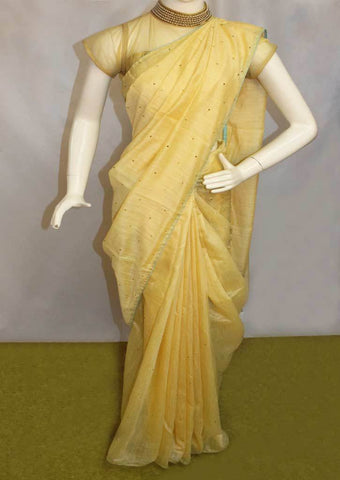 Sandal  with Sky blue Sana Silk Saree-FO46122 ARRS Silks