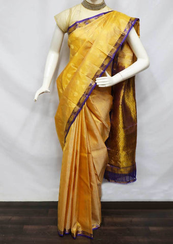 Sandal With Violet Kanchipuram Silk Saree -FV3383 ARRS Silks