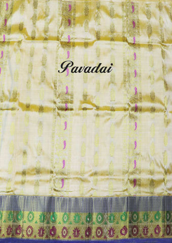 Sandal Wth Multi Color Pure silk Unstitched pattu pavadai - EO6361( Age-Below 1.5 year,2 year,2.5 year,3 year ARRS Silks