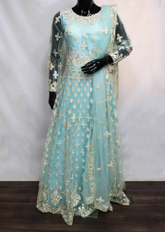 Sky Blue Color Frock  - FQ59695 ARRS Silks
