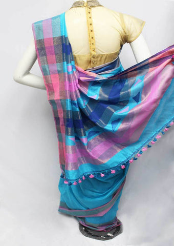 Sky Blue Color Linen Saree - FP9874 ARRS Silks