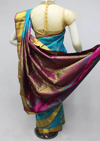 Sky Blue Kanchipuram Silk Saree-FQ22749 ARRS Silks