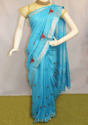 Sky Blue Linen Saree - FO44843 ARRS Silks