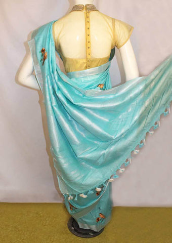 Sky blue Linen Saree - FO44853 ARRS Silks