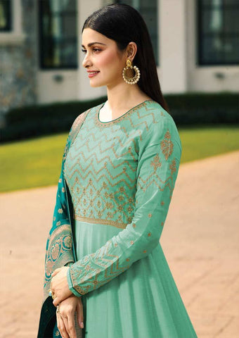 Sky blue Long Anarkali Raw Silk Grand Chudi Material-FQ92981 ARRS Silks