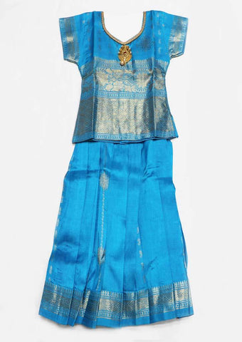 Sky Blue Pure silk Stitched pattu pavadai - FE22402 ( Age-1 year and below) ARRS Silks