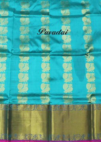 Sky Blue Pure silk Unstitched pattu pavadai - FU46147( Age-3 year to 6 years) ARRS Silks