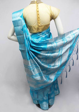 Sky blue Semi Raw Silk Saree-FQ116223 ARRS Silks