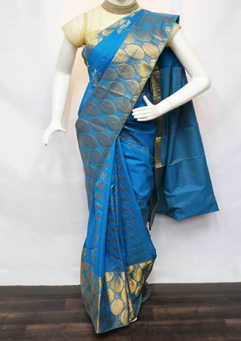 Sky Blue Silk Cotton Saree - FV28313 ARRS Silks