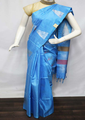 Sky Blue Soft Silk Saree - GE53894 ARRS Silks