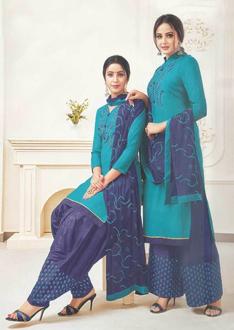 Sky Blue Unstitched Chudi - FR87542 ARRS Silks